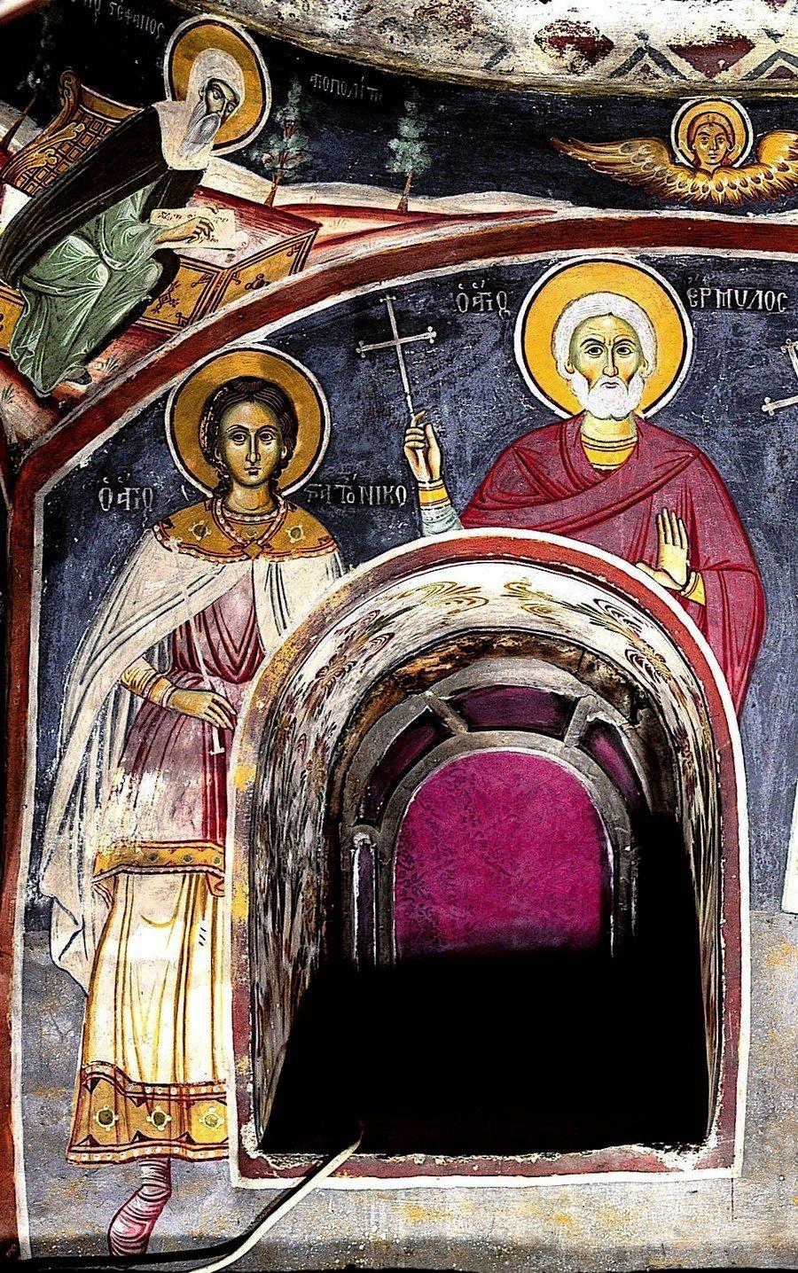 Святые Мученики Ермил и Стратоник. Фреска монастыря Григориат на Афоне.