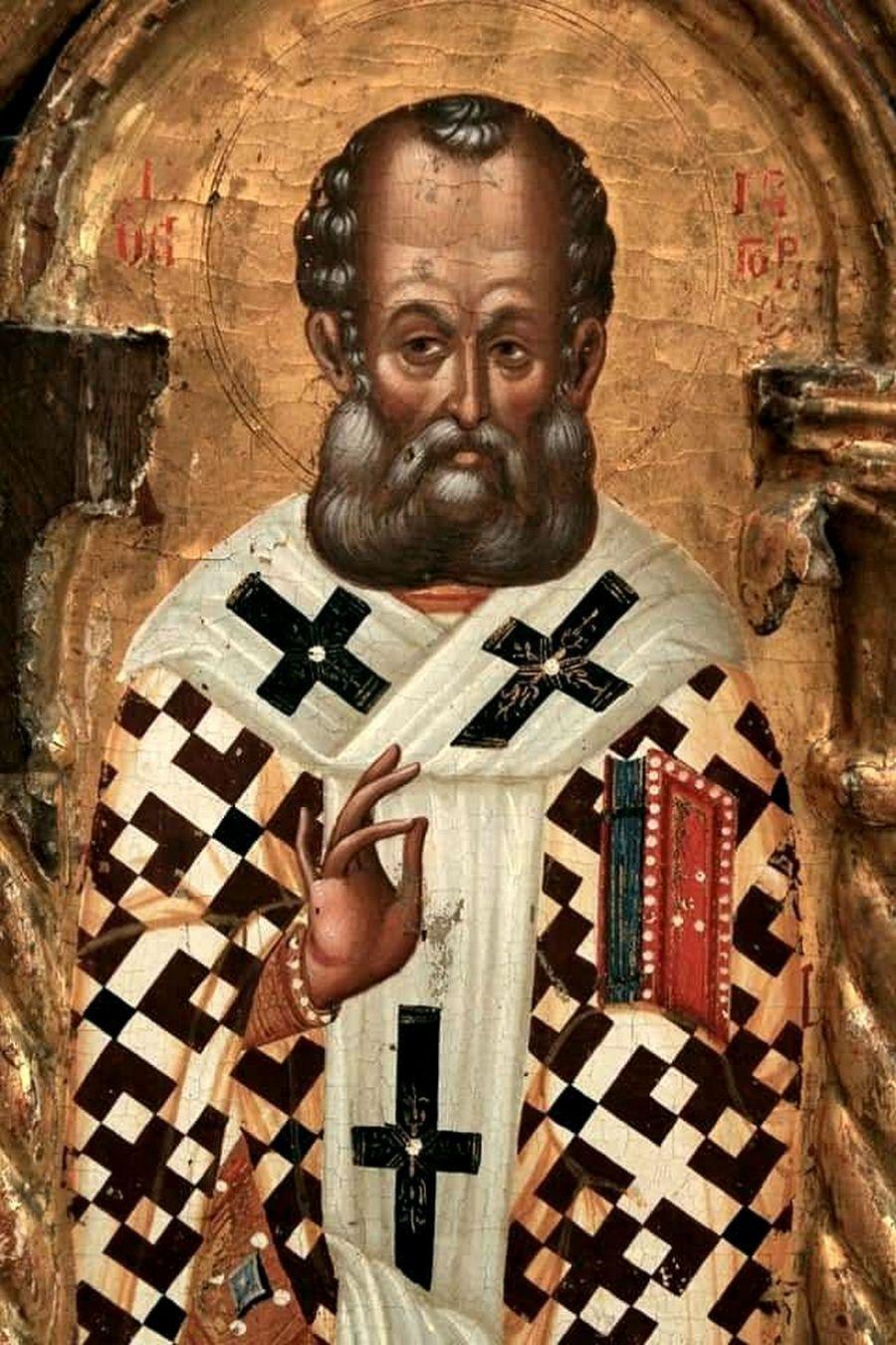 Святитель Григорий Богослов. Фрагмент Царских врат. Кипр, XV век.