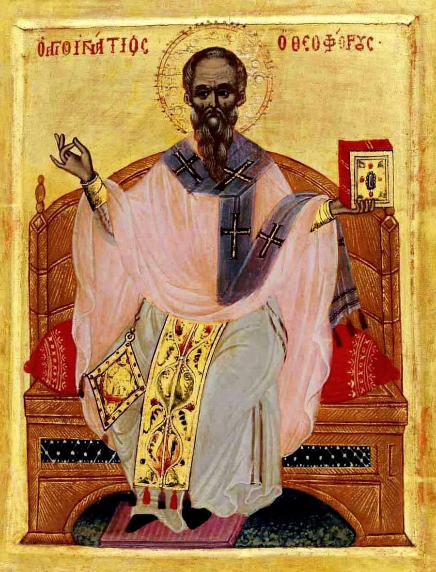 Священномученик Игнатий Богоносец. Икона критской школы. XVII век.