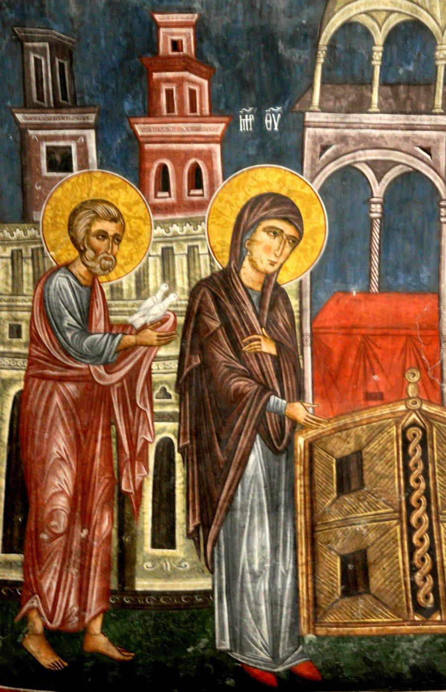 """Сретение Господне. Фреска церкви Святого Николая """"тис стегис"""" (""""под крышей"""") на Кипре. Фрагмент."""