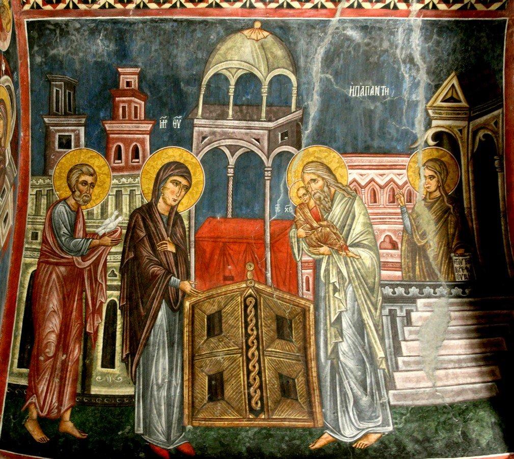 """Сретение Господне. Фреска церкви Святого Николая """"тис стегис"""" (""""под крышей"""") на Кипре."""