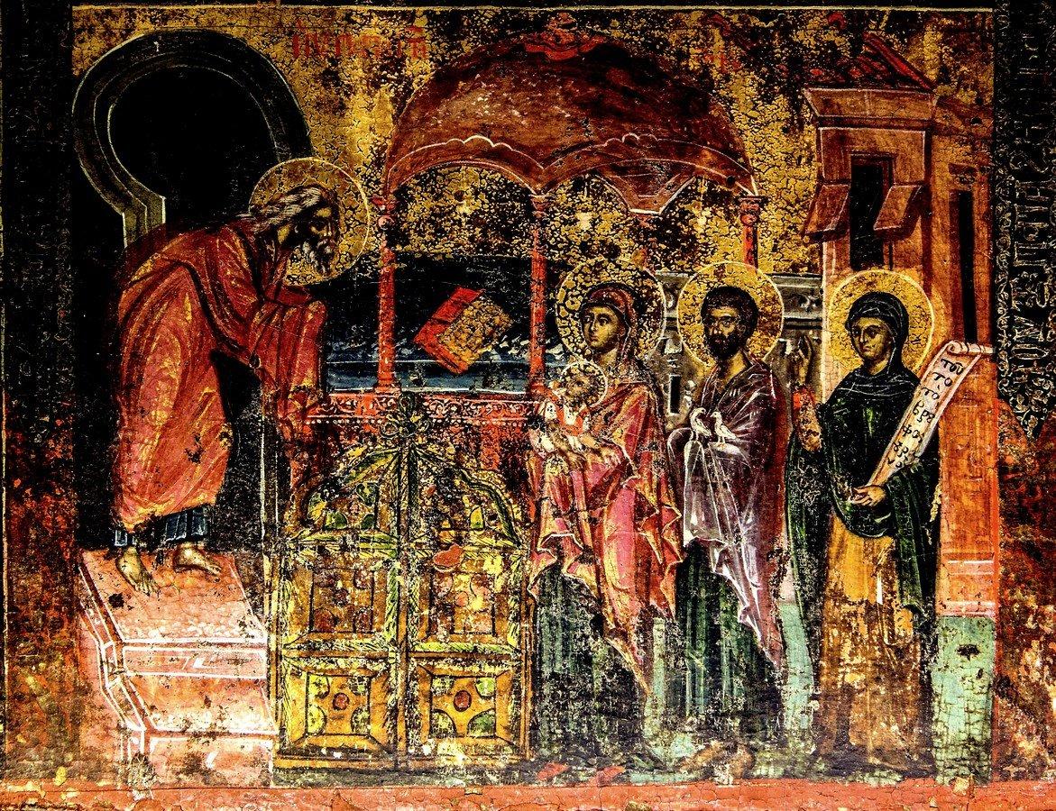 Сретение Господне. Греческая икона. Монастырь Великий Метеор, Метеоры, Греция.