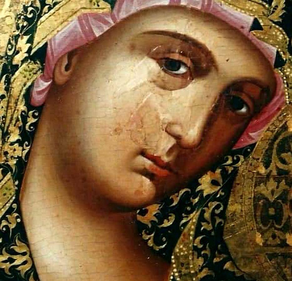 Пресвятая Богородица с Младенцем. Кипрская икона XVI века. Фрагмент.