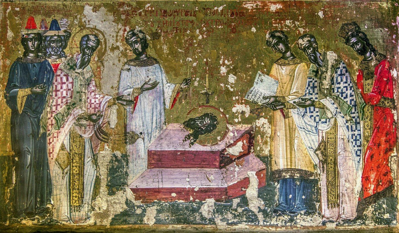 Обретение главы Святого Иоанна Предтечи. Икона в монастыре Великий Метеор, Метеоры, Греция.
