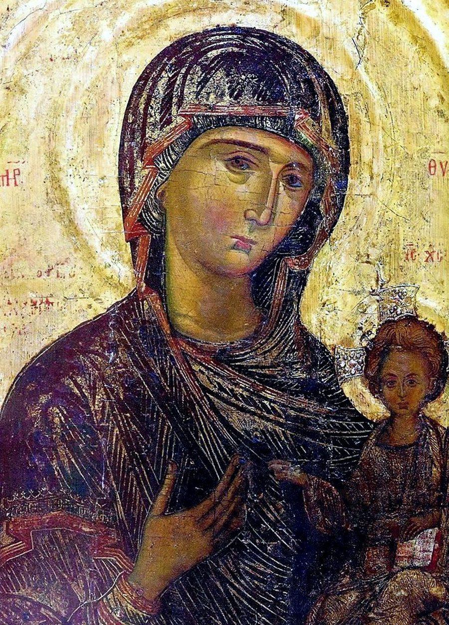 Богоматерь Одигитрия. Кипрская икона XV века. Фрагмент.
