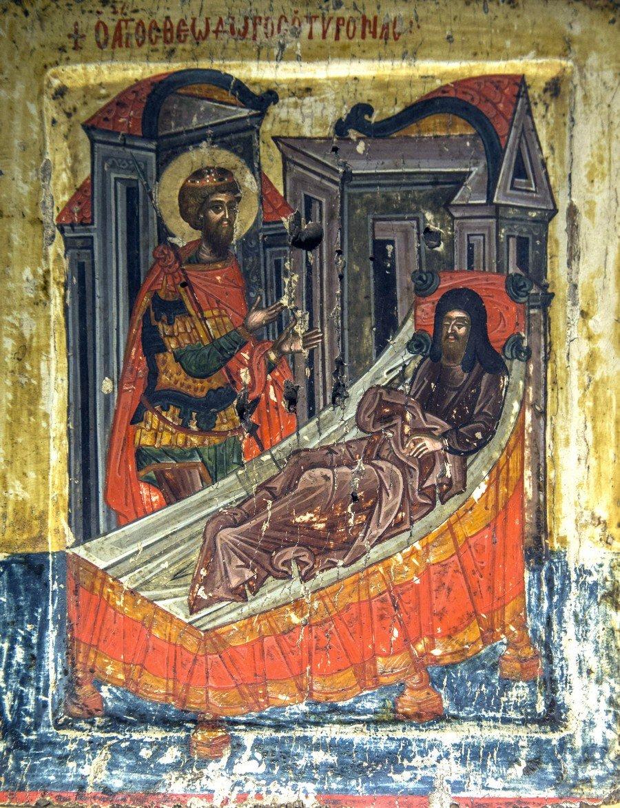 Явление Святого Великомученика Феодора Тирона архиепископу Евдоксию. Икона в монастыре Великий Метеор, Метеоры, Греция.