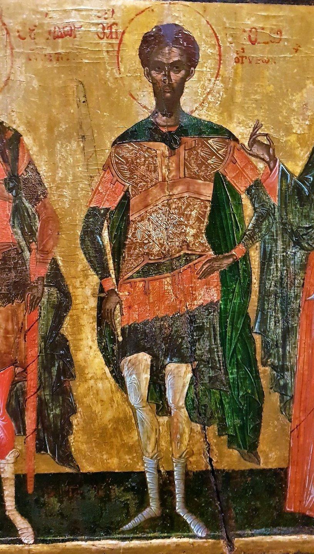 Святой Великомученик Феодор Тирон. Фрагмент греческой иконы.