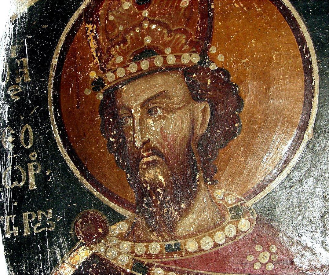 Святой Великомученик Феодор Тирон. Фреска. Кастория, Греция.
