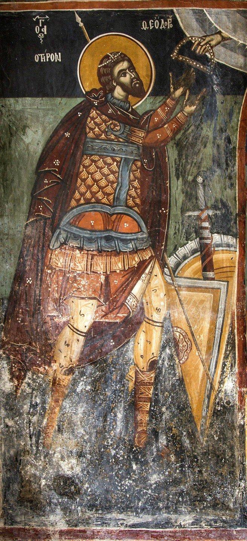 Святой Великомученик Феодор Тирон. Фреска церкви Панагии Кубелидики в Кастории, Греция.