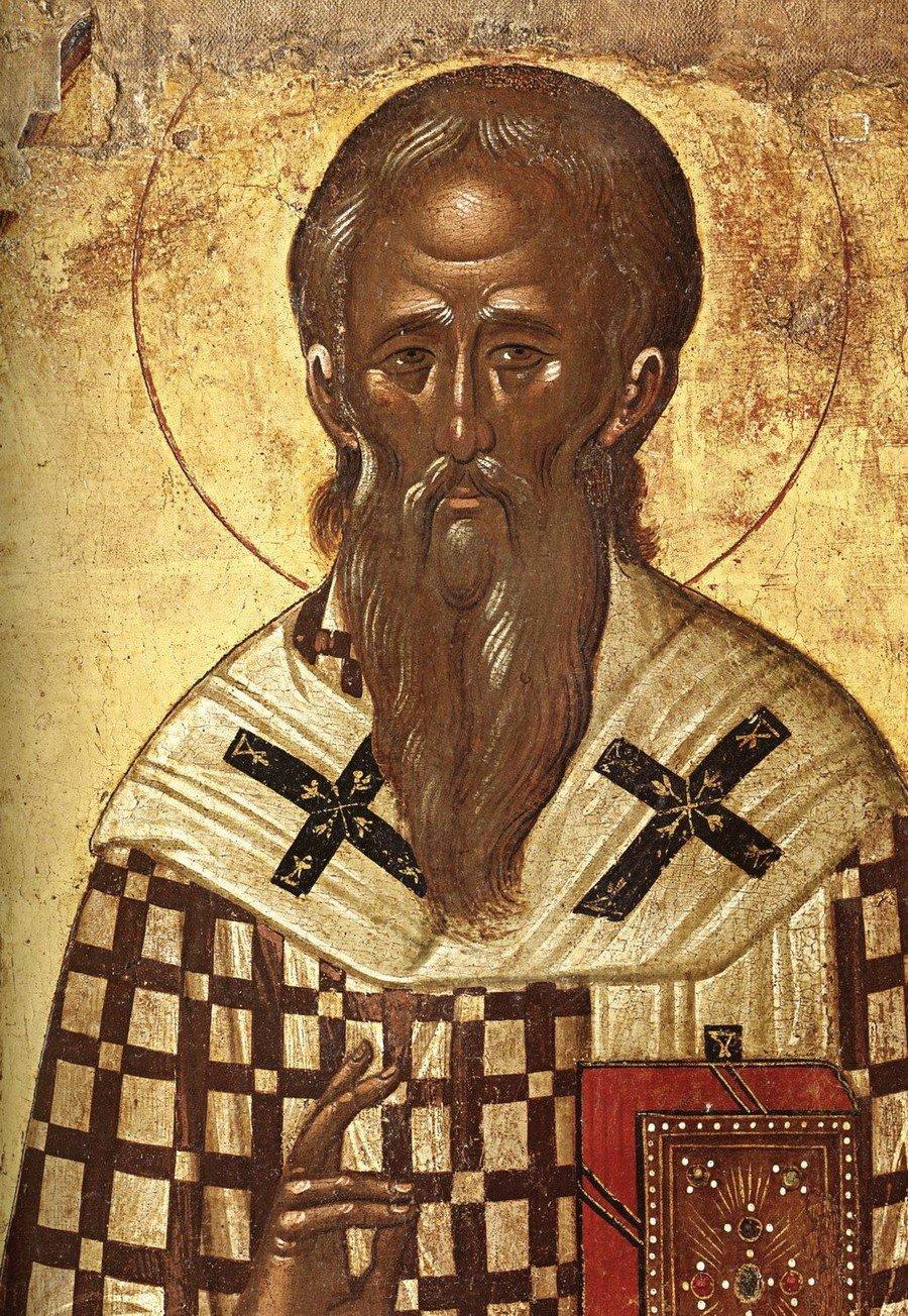 Святитель Софроний, Патриарх Иерусалимский. Фрагмент греческой иконы XVI века. Византийский музей в Афинах.