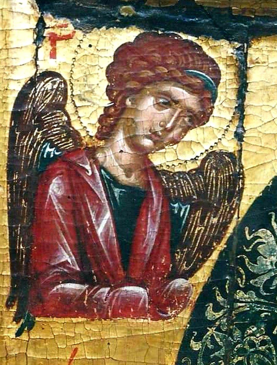 Богоматерь Одигитрия. Кипрская икона XV века. Фрагмент. Архангел Гавриил.