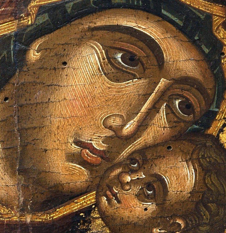 "Икона Божией Матери ""Гликофилуса"". Греция, XV век. Церковный Византийский музей в Митилини, Греция. Фрагмент."