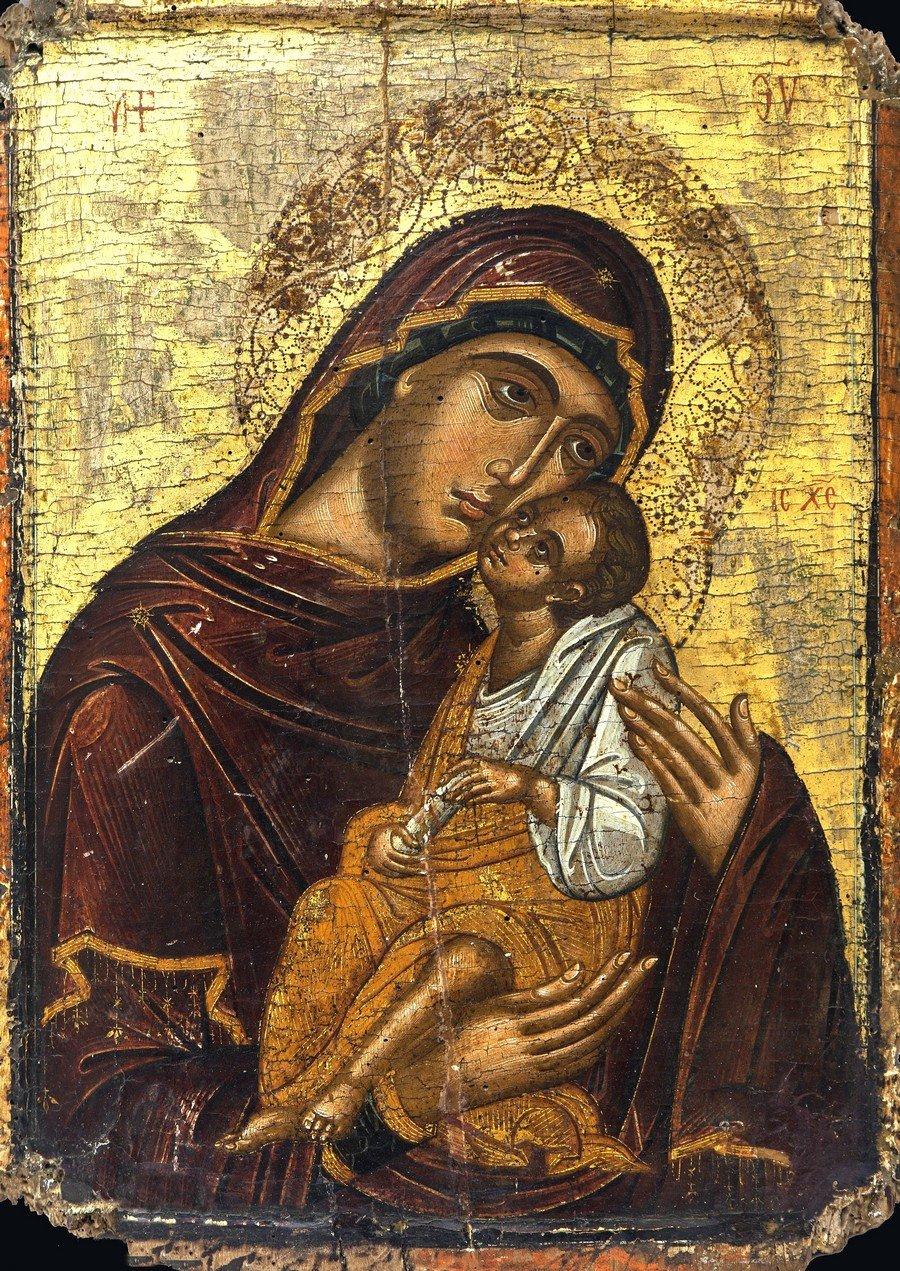 "Икона Божией Матери ""Гликофилуса"". Греция, XV век. Церковный Византийский музей в Митилини, Греция."