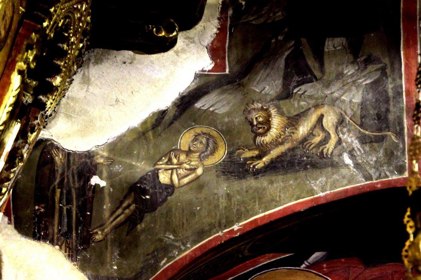 Погребение Святой Преподобной Марии Египетской. Фреска церкви Преображения Господня в Палехори на Кипре. 1610 - 1620-е годы.