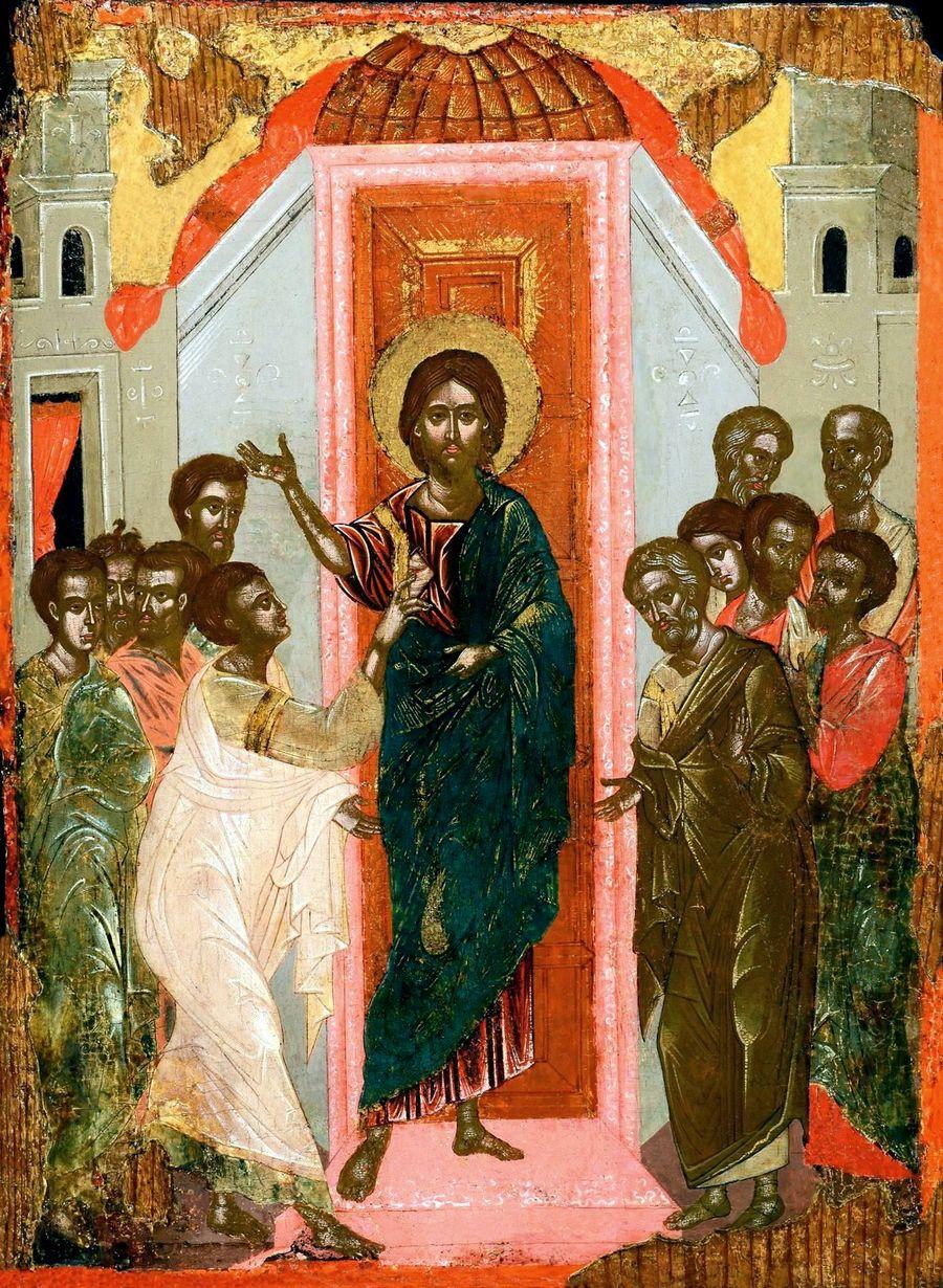 Уверение Апостола Фомы. Икона. Крит, вторая половина XVII века.