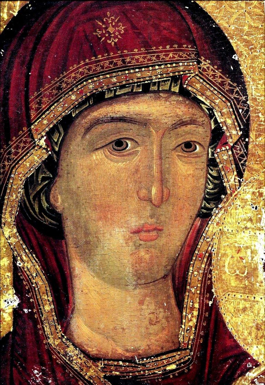Богоматерь Одигитрия. Икона XV века в монастыре Ксенофонт на Афоне. Фрагмент.