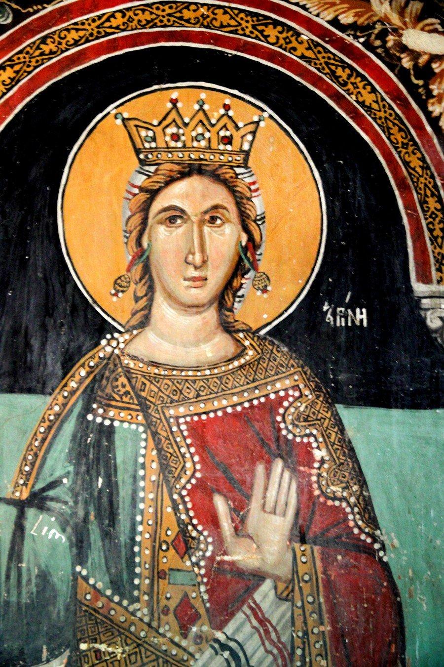 Святая Великомученица Ирина Македонская. Фреска церкви Архангела Михаила и Божией Матери в Галате на Кипре. 1514 год.