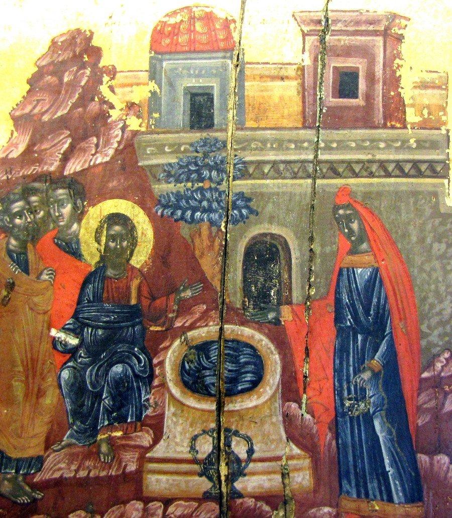 Беседа Христа с самарянкой. Греческая икона XVII века.