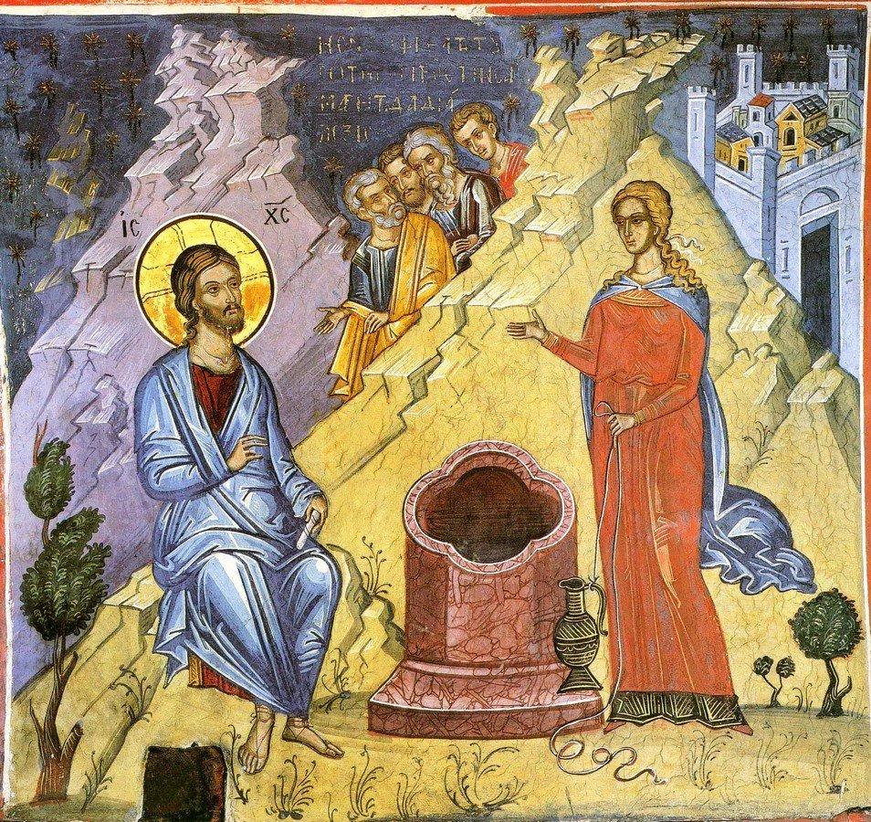 Беседа Христа с самарянкой. Фреска монастыря Дионисиат на Афоне. 1547 год. Иконописец Тзортзи (Зорзис) Фука.