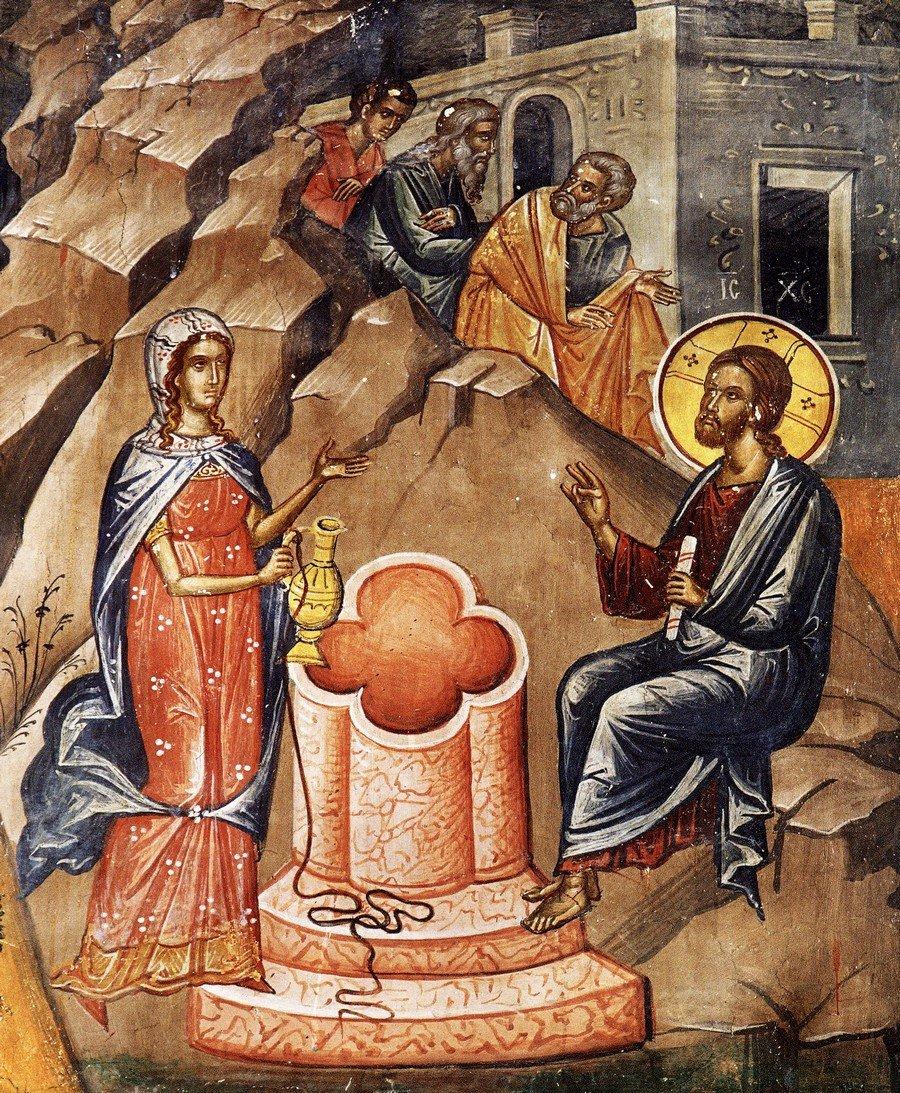 Беседа Христа с самарянкой. Фреска монастыря Святого Николая Анапавсаса в Метеорах, Греция. 1527 год. Иконописец Феофан Критский.