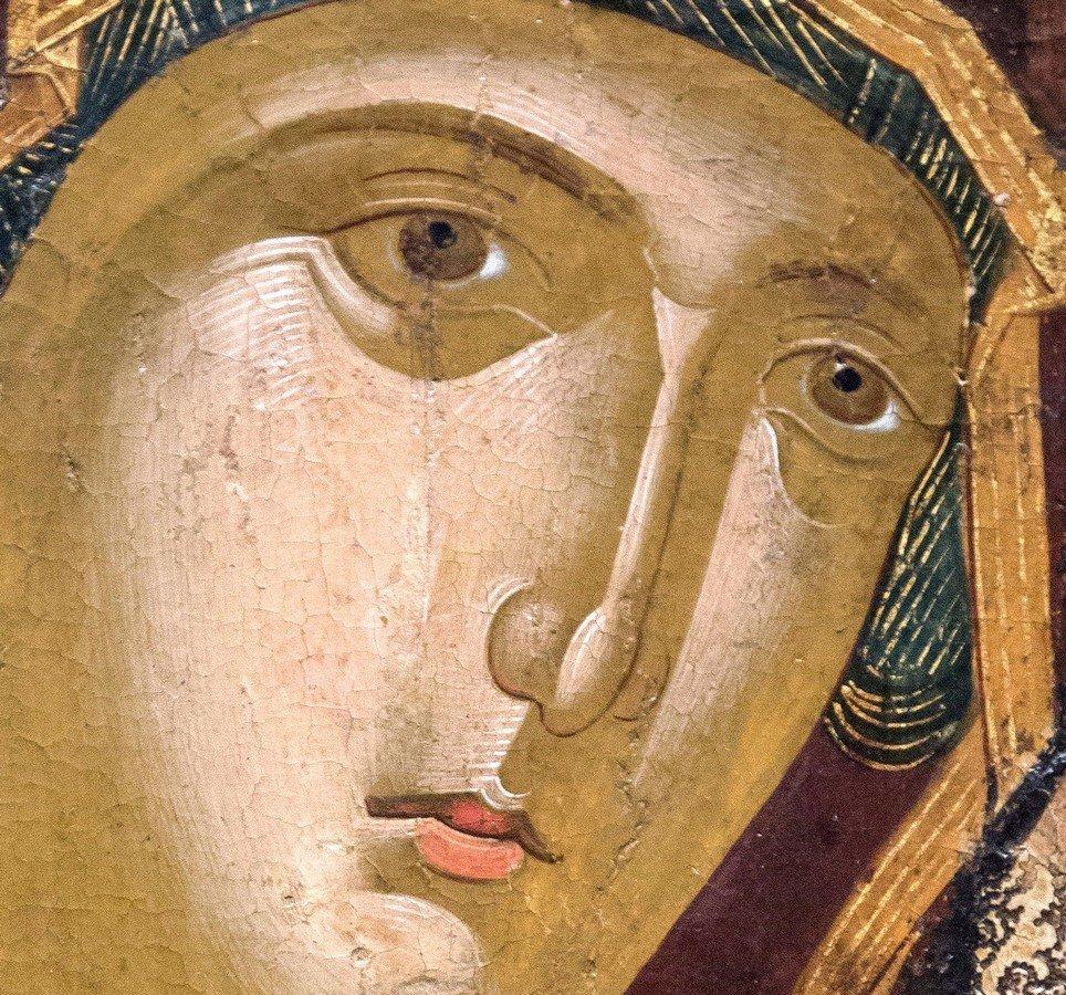 "Икона Божией Матери ""Одигитрия"". Византийский музей в Афинах. Фрагмент."