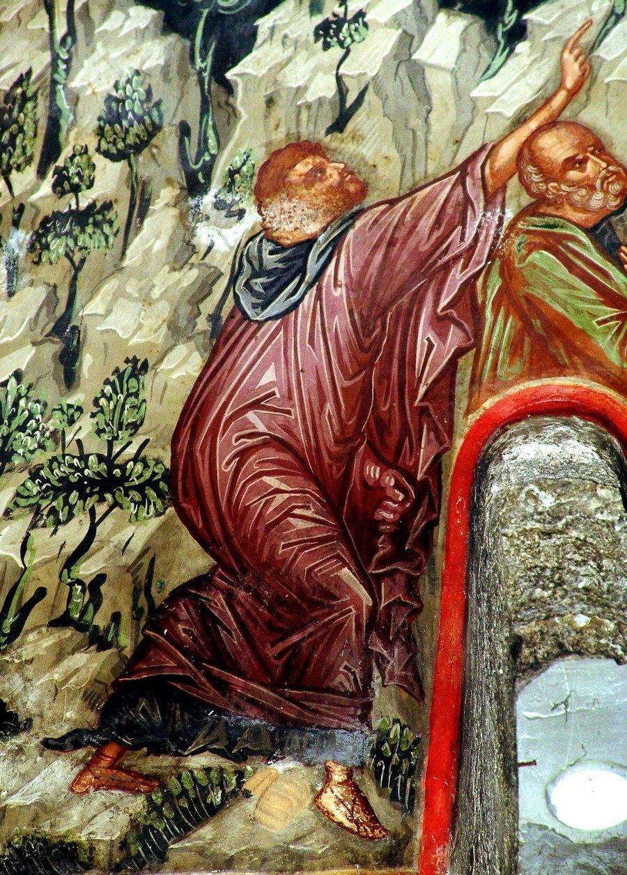 Вознесение Господне. Фреска монастыря Варлаама в Метеорах, Греция. XVI век. Иконописец Франко Кателано. Фрагмент.