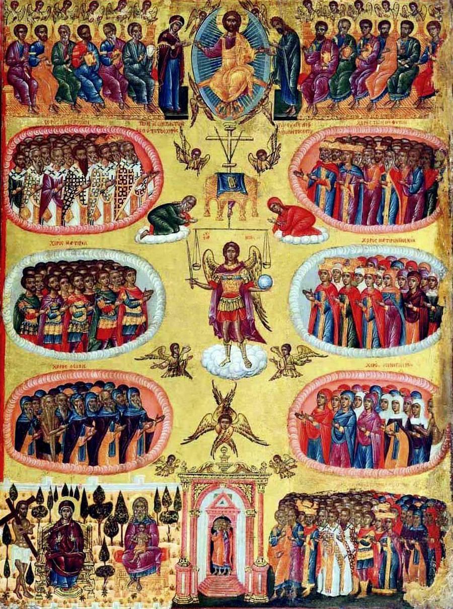 Неделя Всех Святых. Икона. Ионические острова, XVII век.