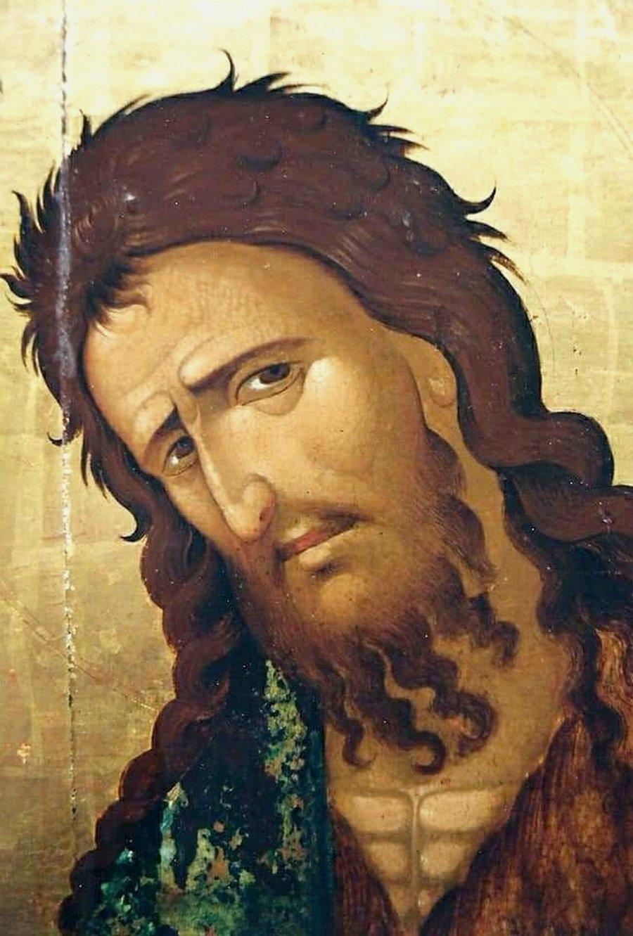 Святой Пророк, Предтеча и Креститель Господень Иоанн. Кипрская икона XVI века. Фрагмент.