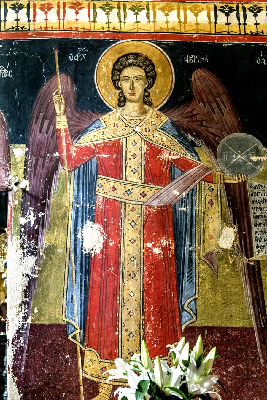 Архангел Гавриил. Фреска монастыря Святого Иоанна Предтечи близ Серр, Греция.