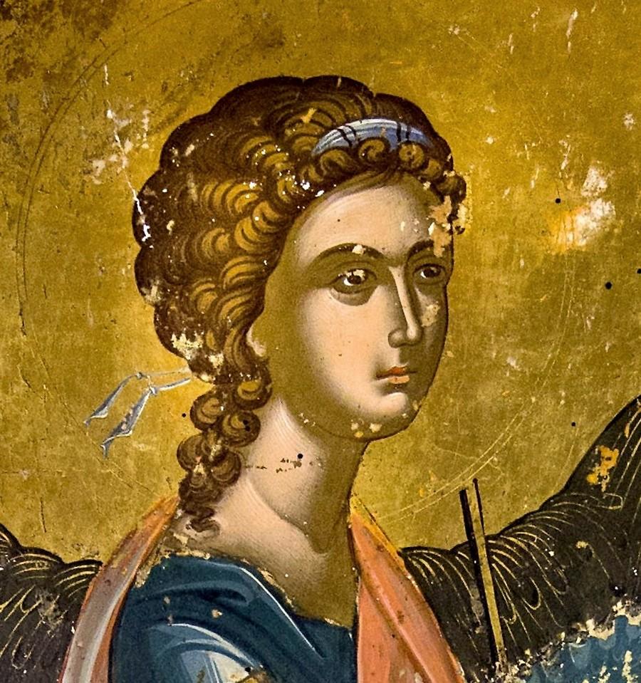 Архангел Гавриил. Фрагмент Царских врат. Греция, XVI век. Монастырь Великий Метеор в Метеорах.