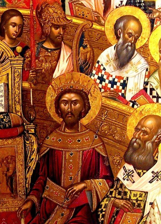 Первый Вселенский Собор. Икона. Крит, 1591 год. Иконописец Михаил Дамаскин. Фрагмент. Святой Царь Константин.