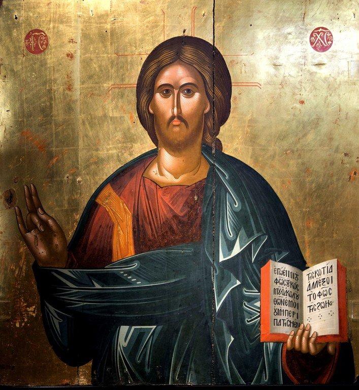 Христос Пантократор. Икона. Греция, около 1500 года. Византийский музей в Кастории, Греция.
