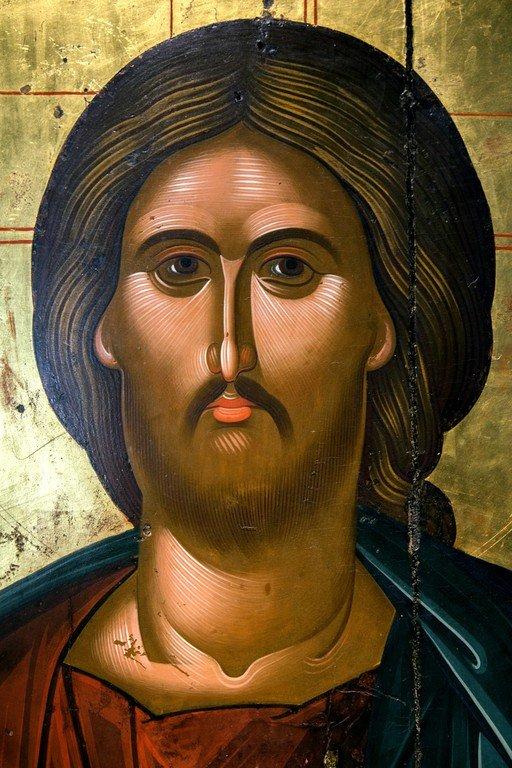 Христос Пантократор. Икона. Греция, около 1500 года. Византийский музей в Кастории, Греция. Лик Спасителя.
