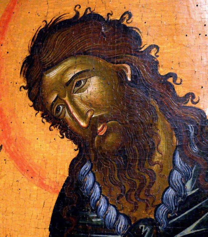 Святой Иоанн Предтеча. Греческая икона. Византийский музей в Верии, Греция. Лик Святого.