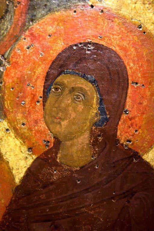 Святая Праведная Анна, матерь Пресвятой Богородицы, с Младенцем Марией. Греческая икона. Византийский музей в Верии, Греция. Фрагмент. Лик Пресвятой Богородицы.