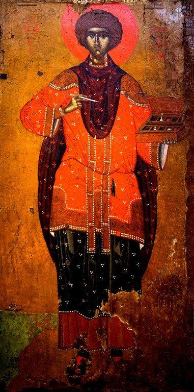 Святой Великомученик и Целитель Пантелеимон. Икона. Греция, последняя четверть XV века. Византийский музей в Кастории, Греция.