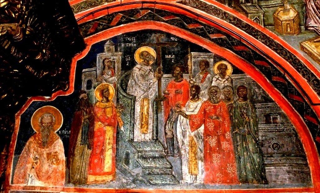 Воздвижение Честного и Животворящего Креста Господня. Фреска монастыря Святого Иоанна Богослова на острове Патмос, Греция.