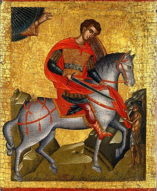 Святой Мартин Милостивый, будущий Епископ Турский, отдаёт часть своей одежды нищему. Икона. Греция, около 1500 года.