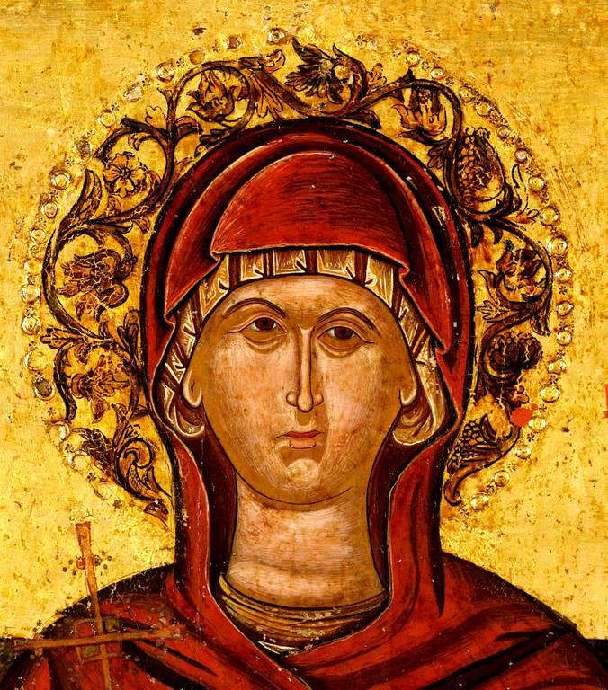 Святая Великомученица Параскева Пятница. Греческая икона XVII века. Фрагмент.