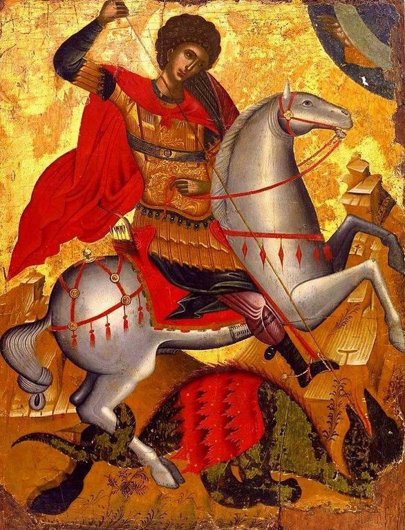 Чудо Святого Георгия о змие. Греческая икона.