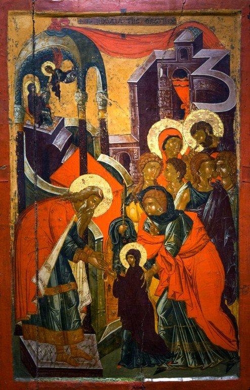 Введение во храм Пресвятой Богородицы. Икона. Византийский музей в Кастории, Греция.
