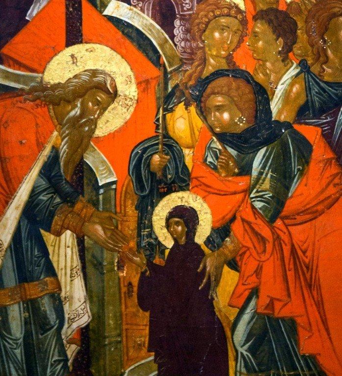 Введение во храм Пресвятой Богородицы. Икона. Византийский музей в Кастории, Греция. Фрагмент.