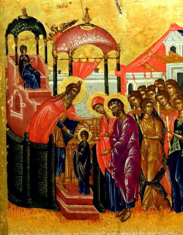 Введение во храм Пресвятой Богородицы. Греческая икона. Византийский музей в Афинах.