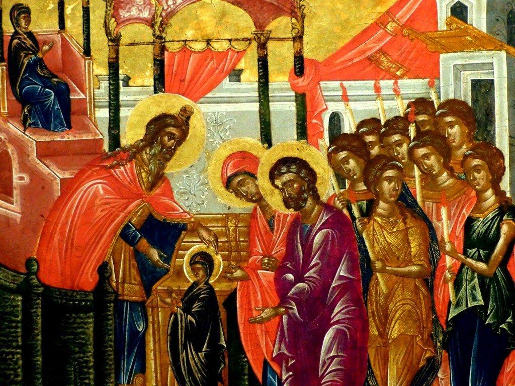 Введение во храм Пресвятой Богородицы. Греческая икона. Византийский музей в Афинах. Фрагмент.