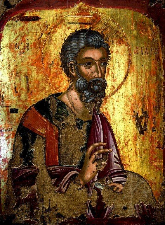 Святой Апостол Андрей Первозванный. Греческая икона XVII века. Византийский музей в Кастории, Греция.