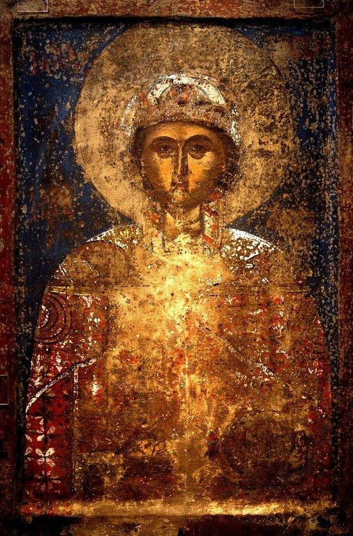 Святая Великомученица Варвара. Греческая икона XV века. Византийский музей в Кастории, Греция.