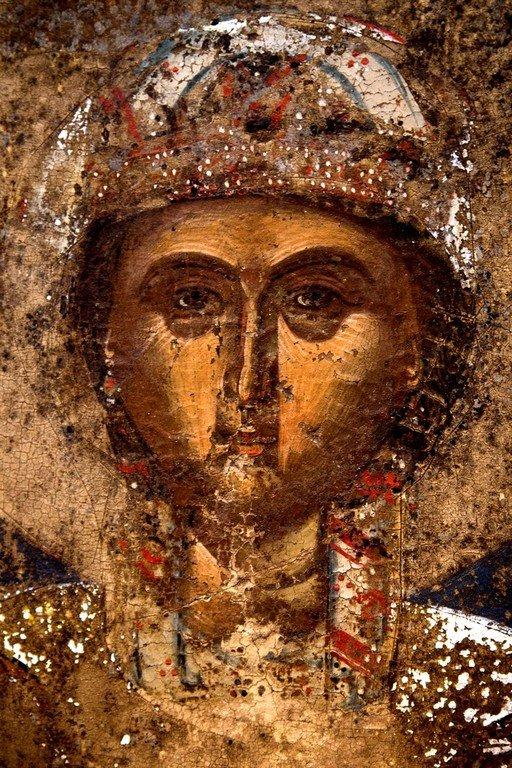 Святая Великомученица Варвара. Греческая икона XV века. Византийский музей в Кастории, Греция. Фрагмент.