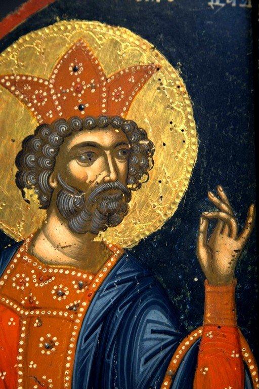 Святой Пророк Царь Давид. Фрагмент иконы. Византийский музей в Кастории, Греция.