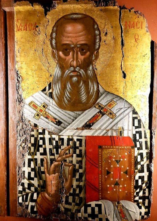 Святитель Афанасий Великий, Архиепископ Александрийский. Икона. Греция, XVI век. Византийский музей в Салониках.