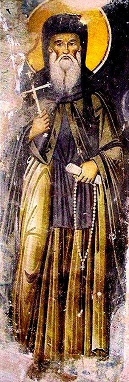 Святой Преподобный Филофей Афонский, основатель монастыря Филофей. Фреска экзонартекса в кафоликоне монастыря Филофей на Афоне. 1867 год.